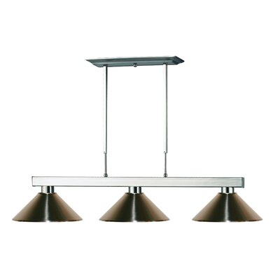 Viki 3-Light Steel Framed Pool Table Light Shade Color: Brushed Nickel