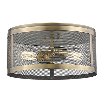 Craner 2-Light Flush Mount Finish: Natural Brass