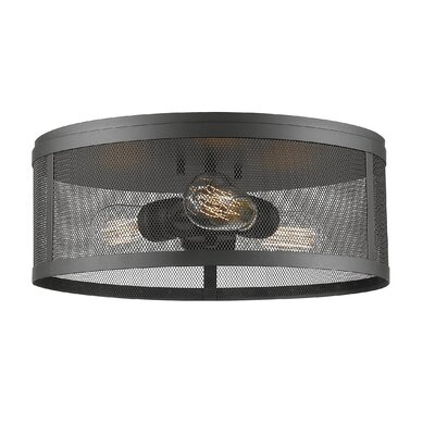 Craner 3-Light Flush Mount Finish: Bronze, Size: 6 H x 14.88 W x 14.88D