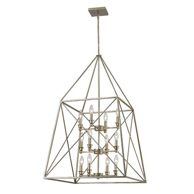 Tolya 12-Light Metal Foyer Pendant Finish: Antique Silver