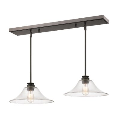 Clayton 2-Light Glass Kitchen Island Pendant Finish: Olde Bronze
