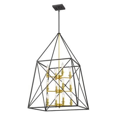 Tolya 12-Light Metal Foyer Pendant Finish: Bronze Gold