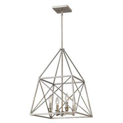 Tolya 4-Light Foyer Pendant Finish: Antique Silver