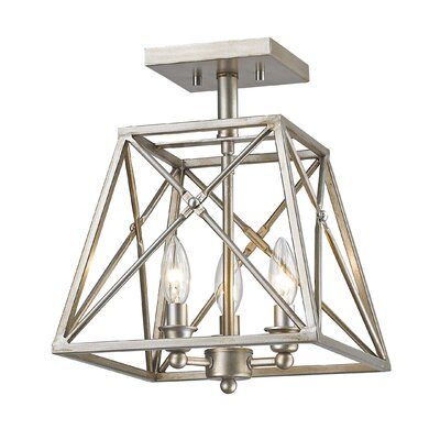 Tolya 3-Light Semi Flush Mount Finish: Antique Silver