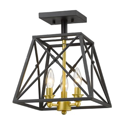 Tolya 3-Light Semi Flush Mount Finish: Bronze Gold