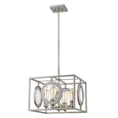 Silvey 4-Light Foyer Pendant Finish: Olde Bronze, Size: 11 H x 17.75 W x 17.75 D