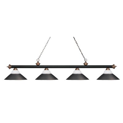 Zephyr 4-Light Pool Table Light Base Finish: Matte Black/Antique Copper