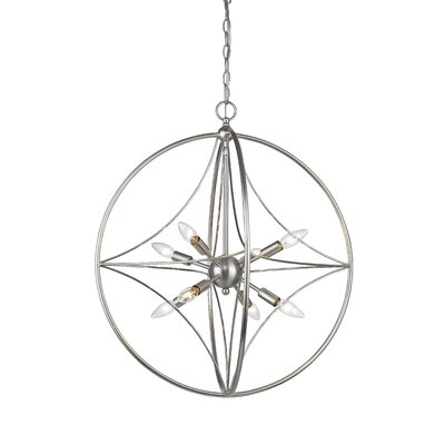 Silvester 8-Light Globe Pendant Finish: Brushed Nickel, Size: 23 H x 20 W x 20 D