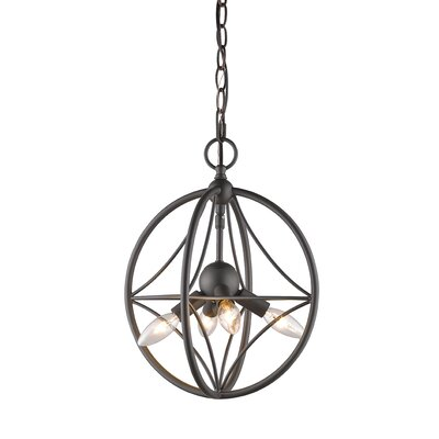 Silvester 4-Light Globe Pendant Finish: Bronze, Size: 19 H x 16 W x 16 D