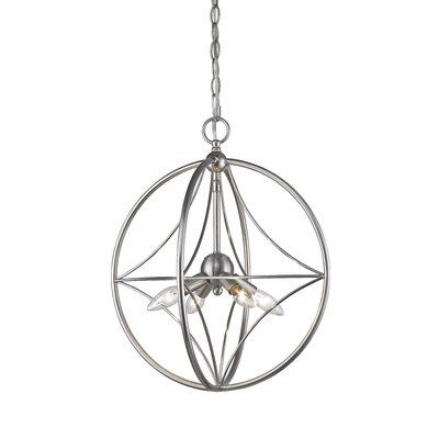 Silvester 4-Light Globe Pendant Finish: Brushed Nickel, Size: 15 H x 12 W x 12 D