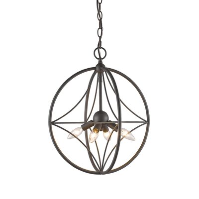 Silvester 4-Light Globe Pendant Finish: Bronze, Size: 15 H x 12 W x 12 D