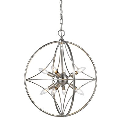 Silvester 8-Light Globe Pendant Finish: Brushed Nickel, Size: 27 H x 24 W x 24 D