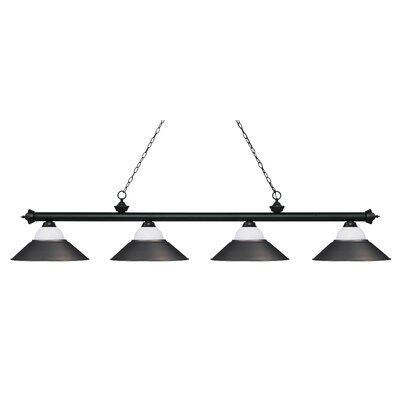 Zephyr 4-Light Pool Table Light Base Finish: Matte Black