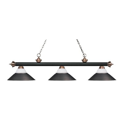 Zephyr Contemporary 3-Light Pool Table Light Base Finish: Matte Black/Antique Copper