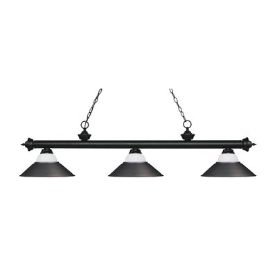 Zephyr Contemporary 3-Light Pool Table Light Base Finish: Matte Black