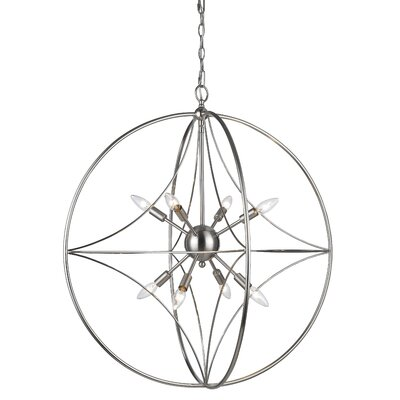 Silvester 8-Light Globe Pendant Finish: Brushed Nickel, Size: 33 H x 30 W x 30 D
