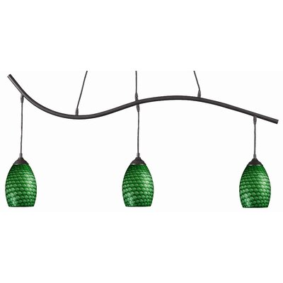Crouse 3-Light Kitchen Island Pendant Color: Green