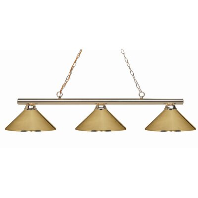 Sharp Shooter 3-Light Kitchen Island Pendant Finish: Polished Brass, Shade Color: Polished Brass