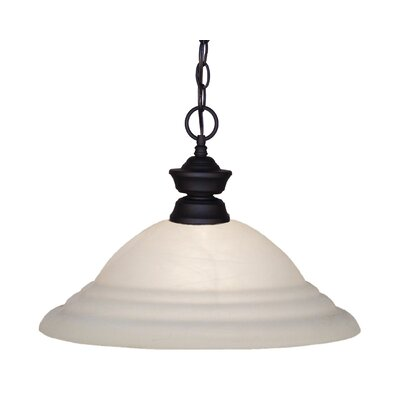 1-Light Mini Pendant Finish: Matte Black with Metal / Glass