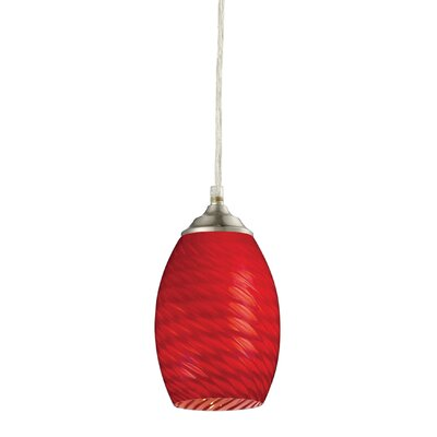 Crouse 1-Light Mini Pendant Glass Shade: Red, Finish: Brushed Nickel
