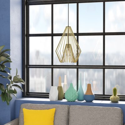 Risher 1-Light Mini Pendant Finish: Metallic Gold, Size: 18.5 H x 12.25 W x 12.25 D