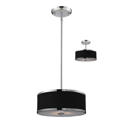 Gamboa Convertible 2-Light Drum Foyer Pendant Size: 53.5 H x 11.75 W, Shade / Finish: Black / Chrome