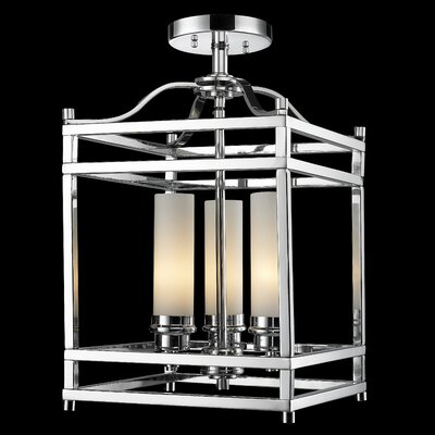 Humiston 3-Light Semi-Flush Mount Shade Color: Chrome