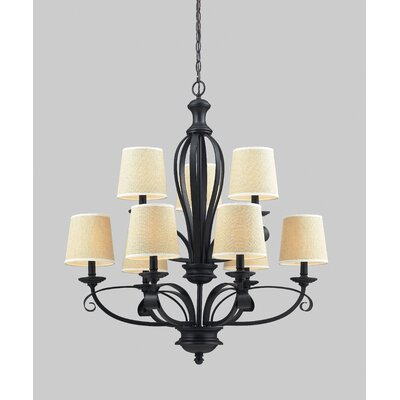 Charleston 9-Light Shaded Chandelier Shade Color: Creme