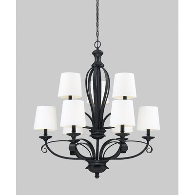 Charleston 9-Light Shaded Chandelier Shade Color: White