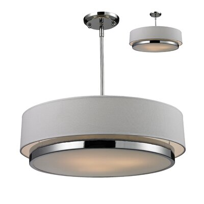 Josue 3-Light Drum Pendant Shade Color: Off White