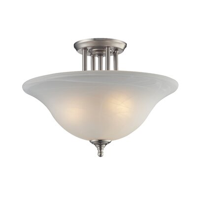 Athena 3-Light Semi-Flush Mount Shade Finish: White Swirl