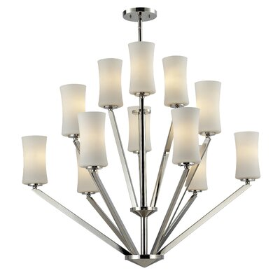 Elite 12-Light Shaded Chandelier Frame Finish: Chrome