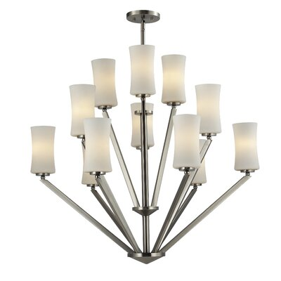 Elite 12-Light Shaded Chandelier Frame Finish: Brushed Nickel