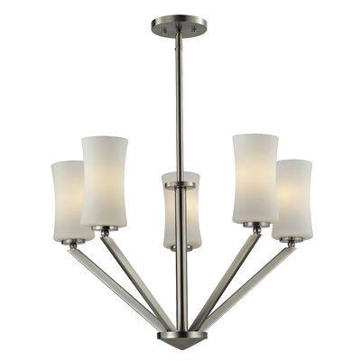 Elite 5-Light Shaded Chandelier Frame Finish: Brushed Nickel