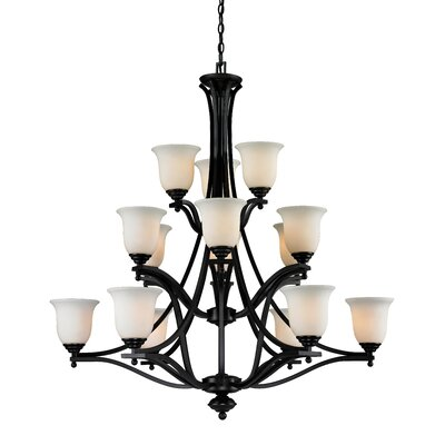 Lagoon 15-Light Shaded Chandelier Frame Finish: Bronze
