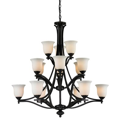 Weyer 15-Light Shaded Chandelier Frame Finish: Matte Black