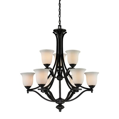 Weyer 9-Light Shaded Chandelier Frame Finish: Matte Black