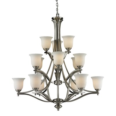 Lagoon 15-Light Shaded Chandelier Frame Finish: Brushed Nickel