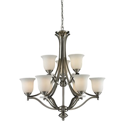 Weyer 9-Light Shaded Chandelier Frame Finish: Brushed Nickel