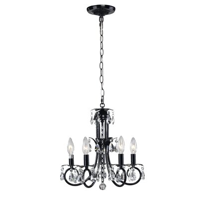 Pearl 5-Light Candle-Style Chandelier Frame Finish: Black