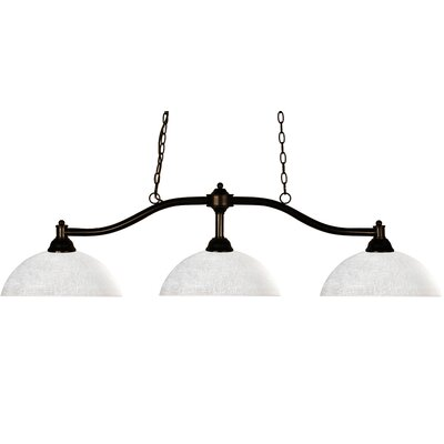 Chance 3-Light Billiard Pendant Shade Finish: White Linen