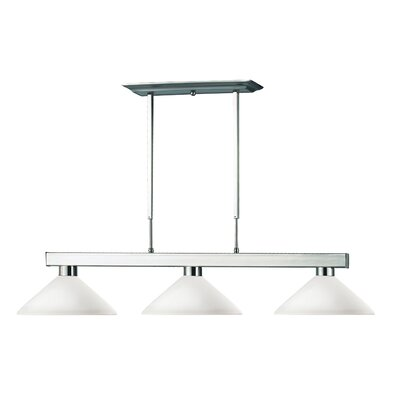 Viki 3-Light Brushed Nickel Billiard Pendant