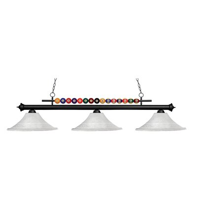 Chapa 3-Light Billiard Light Frame Finish: Matte Black