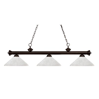 Zephyr 3-Light Cone Metal Shade Billiard Light Shade Finish: White Linen