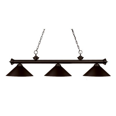 Zephyr 3-Light Cone Metal Shade Billiard Light Shade Finish: Bronze