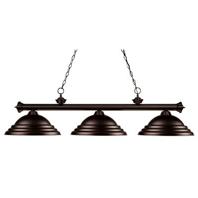 Zephyr 3-Light Bell Shade Billiard Light with Hanging Chain