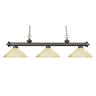 Zephyr 3-Light Cone Shade Billiard Light with Hanging Chain