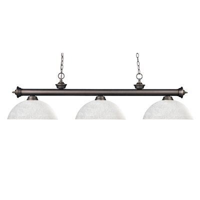 Zephyr 3-Light Metal Billiard Light Shade Finish: White Linen