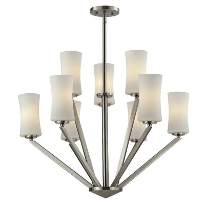 Elite 9-Light Shaded Chandelier Frame Finish: Brushed Nickel