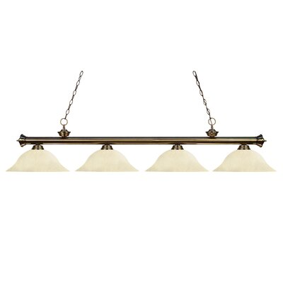 Zephyr 4-Light Incandescent Billiard Light with Hanging Chain
